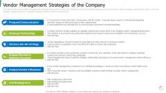 Vendor Management Strategies Of The Company Summary PDF