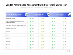 Vendor Performance Assessment With Star Rating Vector Icon Ppt PowerPoint Presentation Infographic Template Background Image PDF