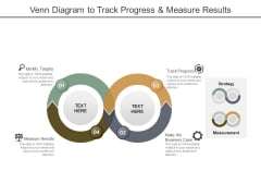 Venn Diagram To Track Progress And Measure Results Ppt PowerPoint Presentation Inspiration Slides