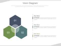 Venn Diagram With Three Steps Powerpoint Slides