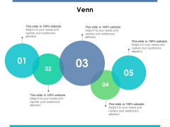 Venn With Five Curcles Ppt PowerPoint Presentation Ideas Model