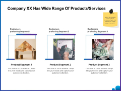 Venture Capital Funding For Firms Company XX Has Wide Range Of Products Services Ppt Styles Slide Download PDF