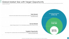 Venture Capital Pitch Decks For Private Companies Global Market Size With Target Opportunity Diagrams PDF