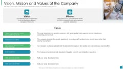 Venture Capital Pitch Decks For Private Companies Vision Mission And Values Of The Company Designs PDF