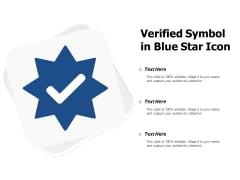Verified Symbol In Blue Star Icon Ppt PowerPoint Presentation File Layouts