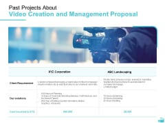 Video Development And Administration Past Projects About Video Creation And Management Proposal Download PDF