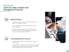Video Development And Administration Payment Terms For Video Creation And Management Proposal Background PDF