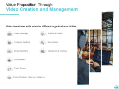 Video Development And Administration Value Proposition Through Video Creation And Management Sample PDF