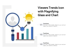 Viewers Trends Icon With Magnifying Glass And Chart Ppt PowerPoint Presentation Gallery Structure PDF