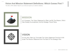 Vision And Mission Statement Definitions Which Comes First Ppt PowerPoint Presentation Layout