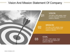 Vision And Mission Statement Of Company Ppt PowerPoint Presentation Deck
