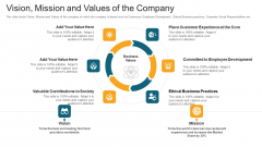 Vision Mission And Values Of The Company Ppt Model Show PDF