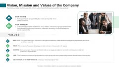 Vision Mission And Values Of The Company Ppt Slides Portfolio PDF