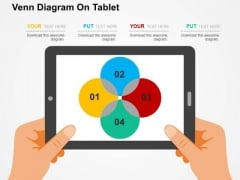 Venn Diagram On Tablet PowerPoint Template