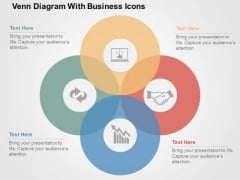 Venn Duagram With Business Icons PowerPoint Template