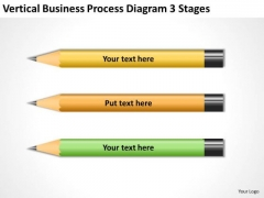 Vertical Business Process Diagram 3 Stages Bar Plan PowerPoint Templates