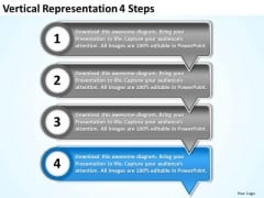 Vertical Representation 4 Steps Customer Tech Support PowerPoint Templates