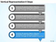 Vertical Representation 4 Steps Customer Tech Support PowerPoint Templates