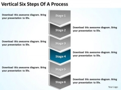 Vertical Six Steps Of Process Making Business Plan Template PowerPoint Slides