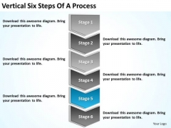 Vertical Six Steps Of Process Sample Business Plan PowerPoint Slides