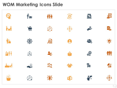 WOM Marketing Icons Slide Ppt Layouts Infographics PDF