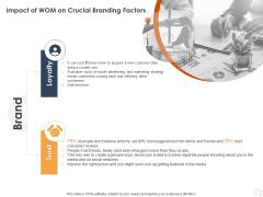 WOM Marketing Impact Of WOM On Crucial Branding Factors Ppt Infographics Portrait PDF