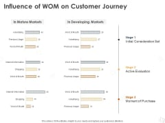 WOM Marketing Influence Of WOM On Customer Journey Ppt Infographics Graphics Pictures PDF