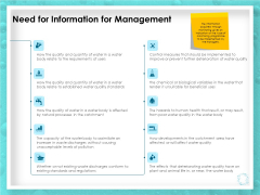 WQM System Need For Information For Management Ppt PowerPoint Presentation Professional Graphic Images PDF