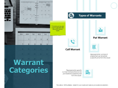 Warrant Categories Calendar Ppt PowerPoint Presentation Visual Aids Example 2015