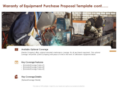 Warranty Of Equipment Purchase Proposal Template Cont Ppt Infographic Template Background PDF