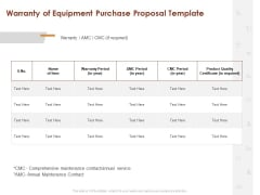 Warranty Of Equipment Purchase Proposal Template Ppt Show Graphic Images PDF