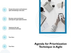 Waterfall Project Prioritization Methodology Agenda For Prioritization Technique In Agile Mockup PDF