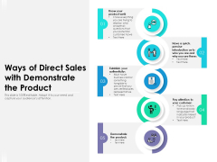 Ways Of Direct Sales With Demonstrate The Product Ppt PowerPoint Presentation Visual Aids Backgrounds PDF