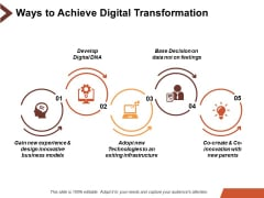 Ways To Achieve Digital Transformation Ppt PowerPoint Presentation Slides Example Introduction