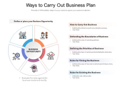 Ways To Carry Out Business Plan Ppt PowerPoint Presentation Model Graphic Images