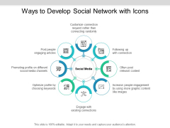 Ways To Develop Social Network With Icons Ppt PowerPoint Presentation Inspiration Examples