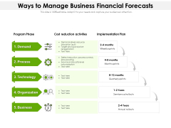 Ways To Manage Business Financial Forecasts Ppt PowerPoint Presentation Portfolio Example File PDF