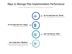Ways To Manage Plan Implementation Performance Ppt PowerPoint Presentation File Introduction