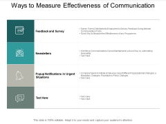 Ways To Measure Effectiveness Of Communication Ppt Powerpoint Presentation Icon Ideas