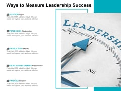 Ways To Measure Leadership Success Ppt PowerPoint Presentation Slides Portrait