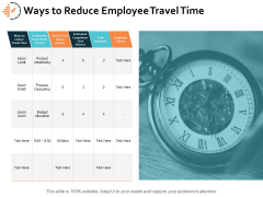 Ways To Reduce Employee Travel Time Ppt PowerPoint Presentation Professional Graphics