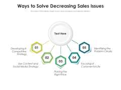 Ways To Solve Decreasing Sales Issues Ppt PowerPoint Presentation Professional Slides PDF