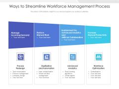 Ways To Streamline Workforce Management Process Ppt PowerPoint Presentation Model Graphics PDF
