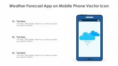 Weather Forecast App On Mobile Phone Vector Icon Ppt Gallery Design Ideas PDF
