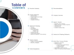 Web Banking For Financial Transactions Table Of Contents Ppt Infographic Template Deck PDF