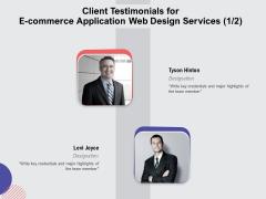 Web Design Services Ecommerce Business Client Testimonials For E Commerce Application Web Design Services Teamwork Guidelines PDF