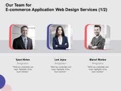 Web Design Services Ecommerce Business Our Team For E Commerce Application Web Design Services Teamwork Mockup PDF