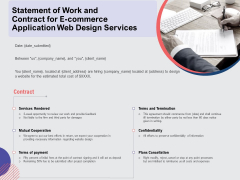 Web Design Services Ecommerce Business Statement Of Work And Contract For E Commerce Application Web Design Services Ideas PDF