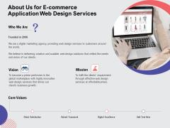 Web Design Services Proposal For Ecommerce Business About Us For E Commerce Application Web Design Services Demonstration PDF