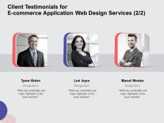 Web Design Services Proposal For Ecommerce Business Client Testimonials For E Commerce Application Web Design Services Template PDF